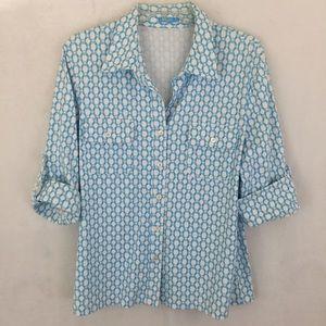 J.MCLAUGHLIN BRYNN trellis shirt top button front